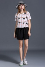 SN6616 fat women summer fashion chiffon hot short pants