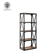 Solid Wood And Metal Bookshelf Vintage Industrial Bookcase