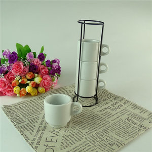 Stock wholesale plain white ceramic coffee mugs set with metal stand rack