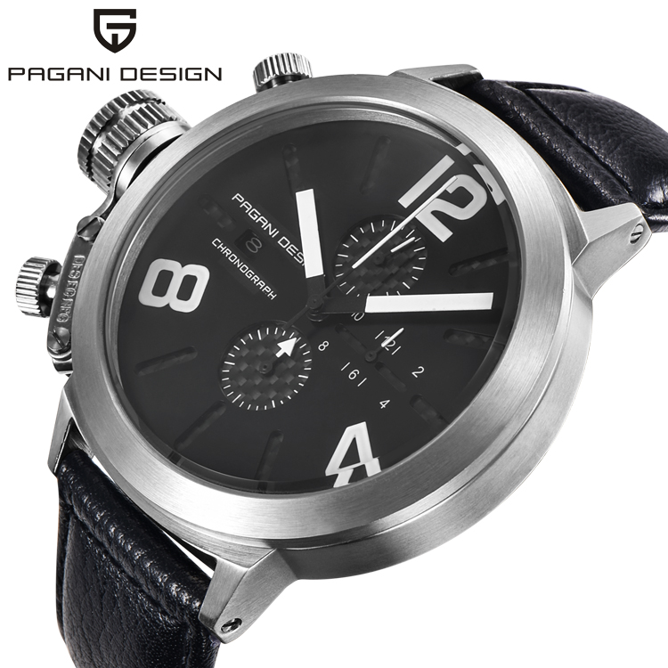 PAGANI CX 2332 <strong>G10</strong> Men Sport Watches Waterproof Chronograph Watch Male Genuine Leather Quartz Military Army Big Dial Wrist Watch