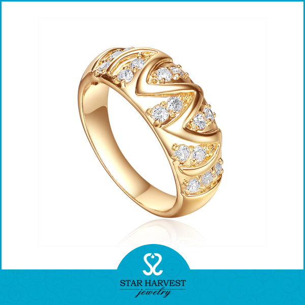 M or W 18k gold plating ring with letter design