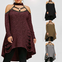 NS2470 European Fashion Ladies Knitted Plus Size Fat Women Sweater Dresses