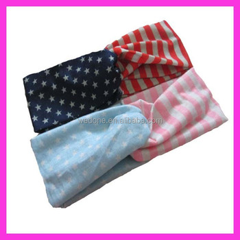 American National Flag Printed Knot Women Headband for 4th of july