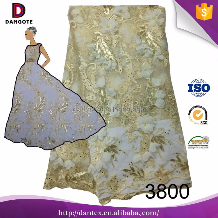 Fancy 3d bridal lace fabric beads /hiqh qualuty french lace fabric/african nigerian dubai
