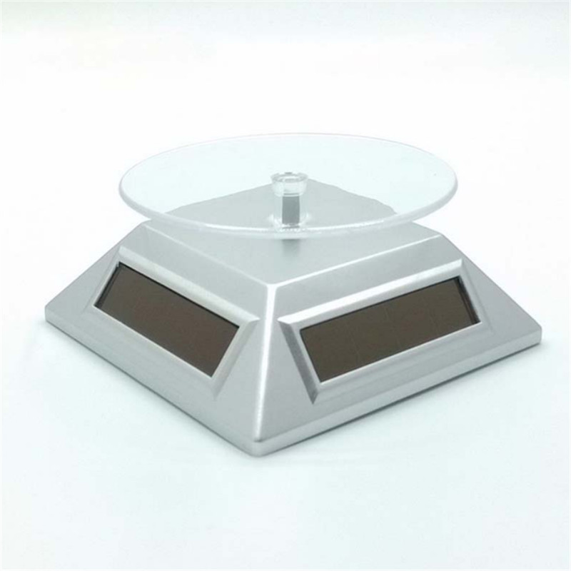 New Solar Display Stand Turntable Battery Double Used Rotating Stand for Jewelry Watch holder Hobby Collection Shelf