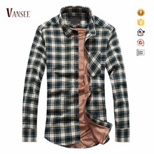 winter super thick warm double layers fleece lined flannel shirts big and small green check shirt