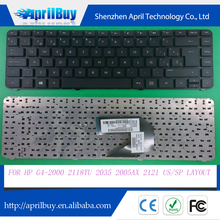 Replacement laptop keyboard for HP G4-2000 2118TU 2035 2005ax 2121 US/SP layout keyboard