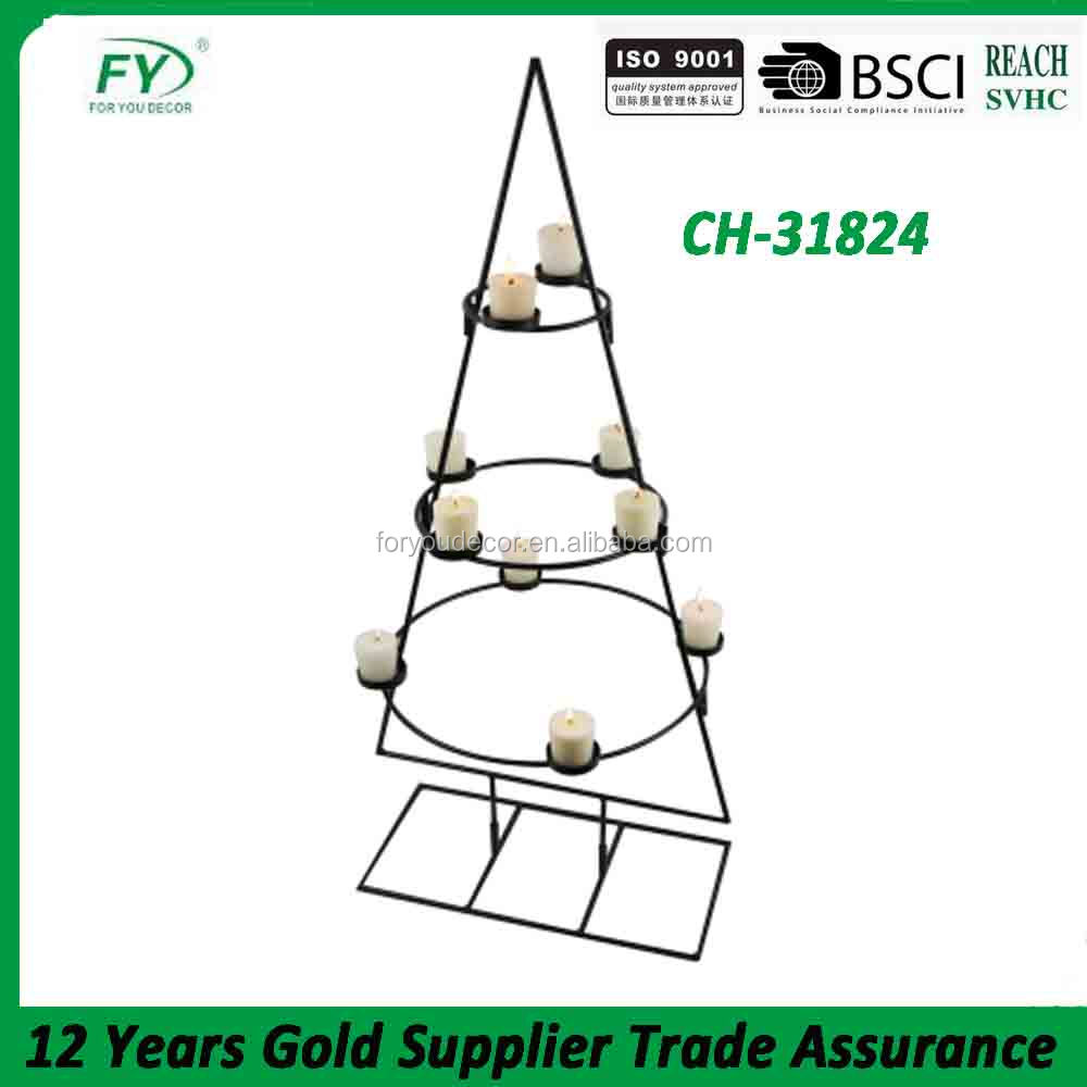 Black triangular indoor and outdoor dinner party metal candle holder with ten tealight holder CH-31824