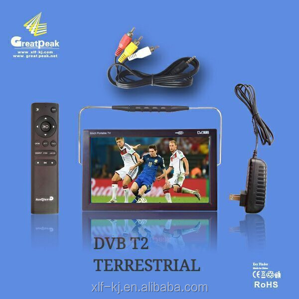 "9"" Portable hd led lcd DVB-T/T2 digital USB port Multimedia player TV"