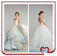 Latest Design Fantastic Ball Gown Sweetheart Court Train Appliques Rainbow Wedding Dresses(WD239)