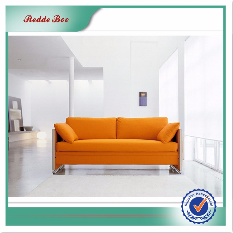 orange and white leather sofa bed