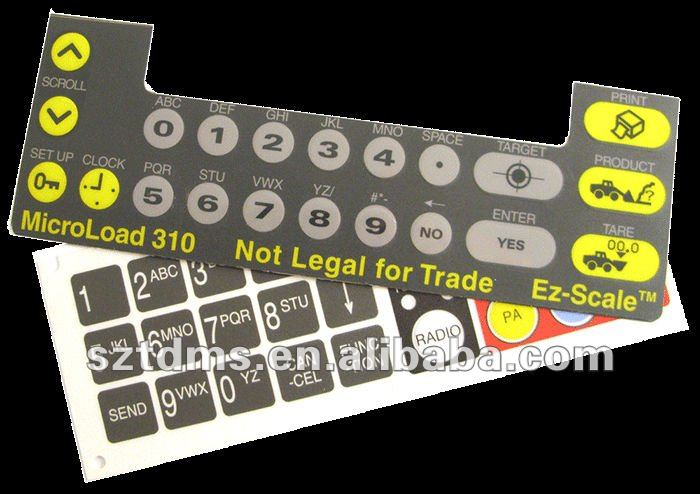 custom plastic dome front panel graphic overlay for the membrane switch