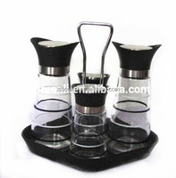 4 Pieces pepper and salt grinder set and Oil Vinegar Bottle with stand