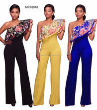 4 colors one - shoulder embroidered plain fashion causal women bodycon long jumpsuits