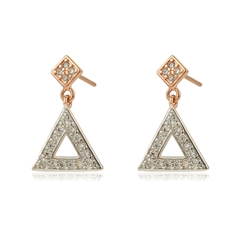 97811 Xuping jewelry multicolor new design triangle shape charm drop earrings