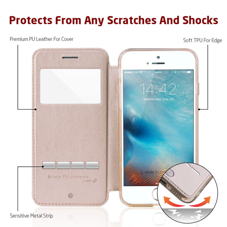 G-CASE Shockproof View Window PU Leather Ultra Thin Slim Cover Drop Protector Universial Phone Case for iPhone 7 6 6S