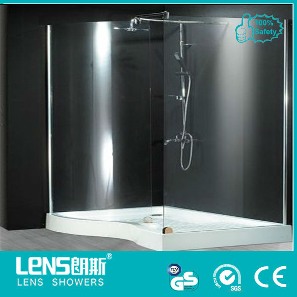 frameless easy access 6/8mm walk-in shower door&popular design shower partition Lens-wing P20