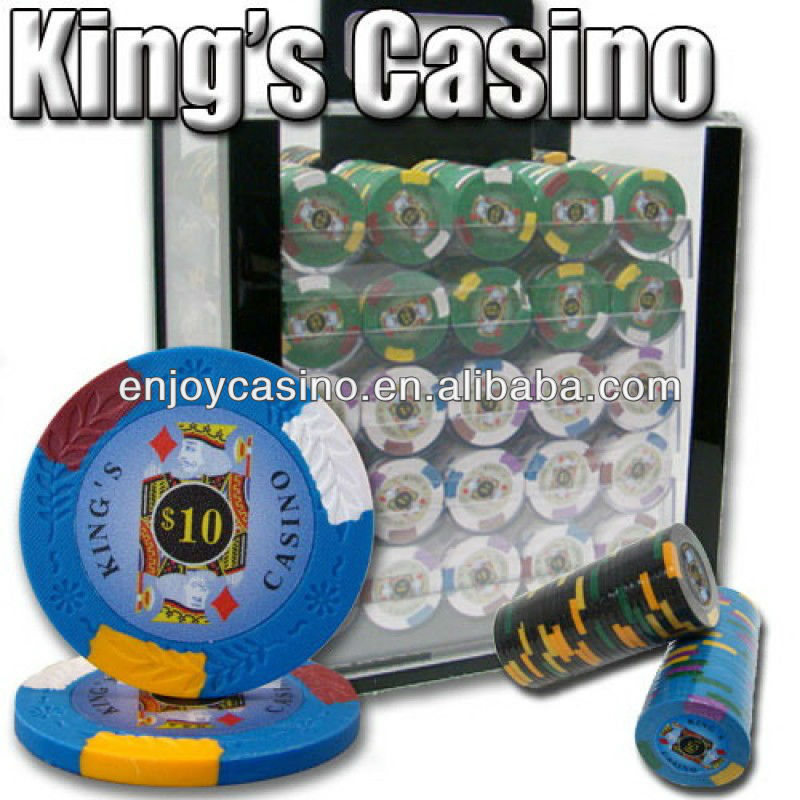 Kings Casino Sticker ABS Poker Chip Set with Acrylic Case - 1000 Piece