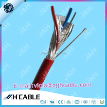 Signal cable 2X0.22mm aluminum foil PET drain wire shielding with rip cord 1 pair twisted with steel wire alarm security