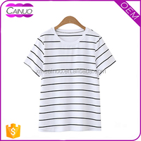 High quality OEM custom women striped cotton t shirt printing machine