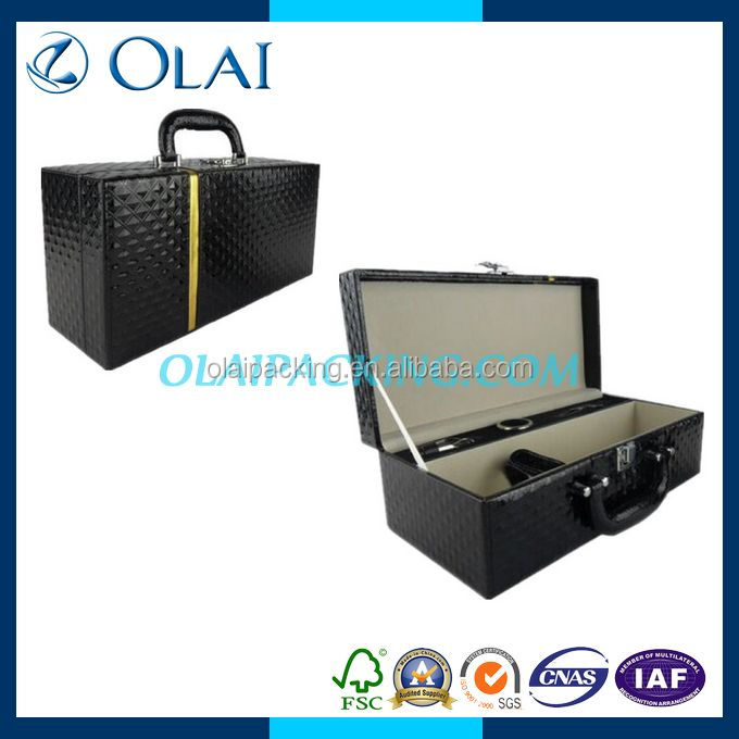 luxury black single leather wine box cover for sale
