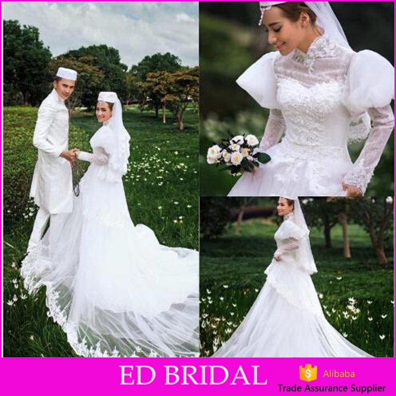 Vintage Country Style White Tulle A Line Muslim Wedding Dress