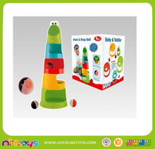 Education funny plastic baby stacking toys with drop ball (Include 2*AG13 battery)
