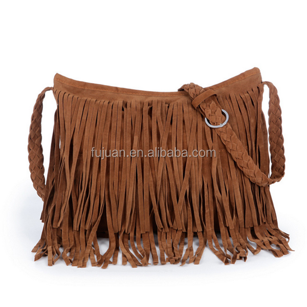 Factory sales 6 colors thin woven scrub cheap tassels online women suede fringe grey bag