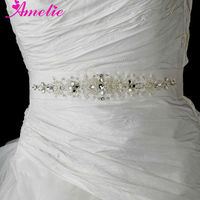 AS28 Fashion pearl and rhinestone Beaded bridal belt sash