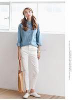 softextile latest stripes designs long loose fancy denim shirt women