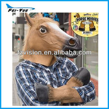Latex Creepy Horse Mask with funny Horse Hooves