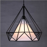 Rope Hemp Lighting Chandelier Black Cage