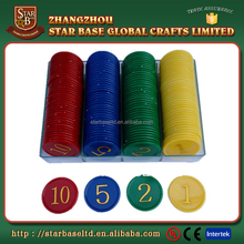 Game use cheap custom embossed plastic token coins, blank plastic coins