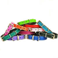 Custom Color Genuine Soft Leather Small Dog Collar handmade colorful cowhide leather dog collar lightweight pet collar