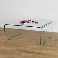Geo Bent Glass Clear Square Coffee Table