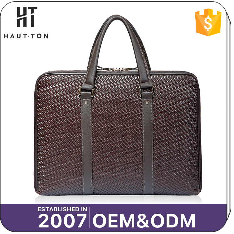 Business Style Man Multifunctional Brown Briefcase Bags High Quality Popular Genuine Split Cow Leather Briefcase For Men