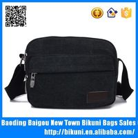 2015 Fashion designer vintage style 100% cotton canvas messenger bags with retro crazy horse leather factory