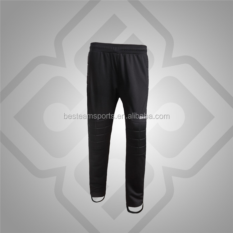 High quality comfortable polyester soccer wear goalkeeper pant with pads