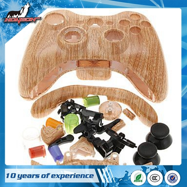 Full Shell Wood Grain Housing Case For Xbox 360 Controller Game