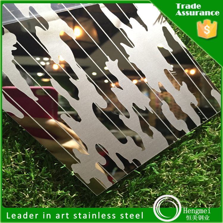 manufacture color mirror finish etched stainless steel 201 grade