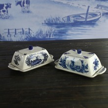Delft ceramic blue and white butter dish box