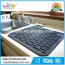 "Deep Silicone Dish Drying Mat for Kitchen Countertops ""17.8 x 15.8"" High Ridges Better Aeration Antibacterial Dishes Pad"