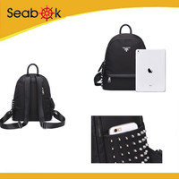 Custom Black Leather Backpack for Lady school Backpacks