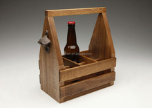 new design 6 bottle wooden beer caddy with FSC
