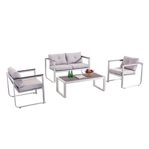 Convenience Design outdoor garden Brushed aluminum furniture polywood chairs and rectangle dining table set with cushions