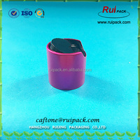 24/410 aluminum plastic shiny top disc cap for cosmetic bottle