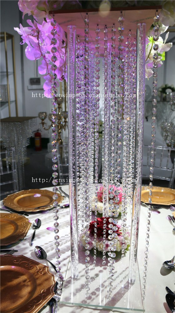 Tall square acrylic centerpiece crystal wedding flower