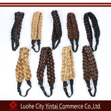 Ebay Hot fancy selling elastic triple fake hair braids headbands hair accessories for women