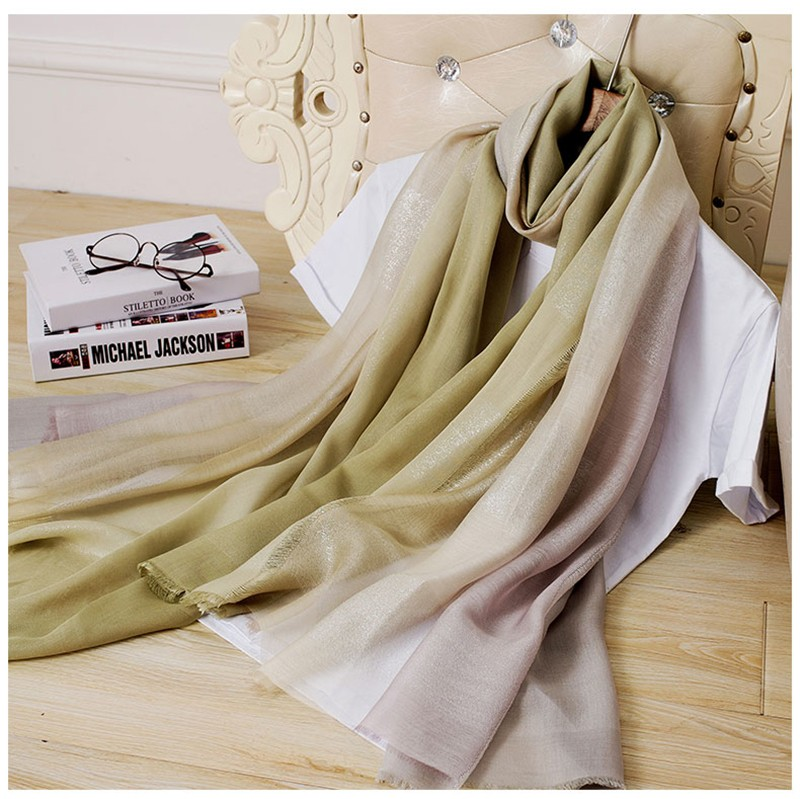 2017 Spring new arrival manufacture high quality gradient blue real modal silk pashmina scarf