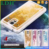 S5 Glitter Liquid Quicksand Clear Case For Samsung Galaxy S5 i9600 Deluxe Bling Star Crystal PC Transparent Hard Back Cover